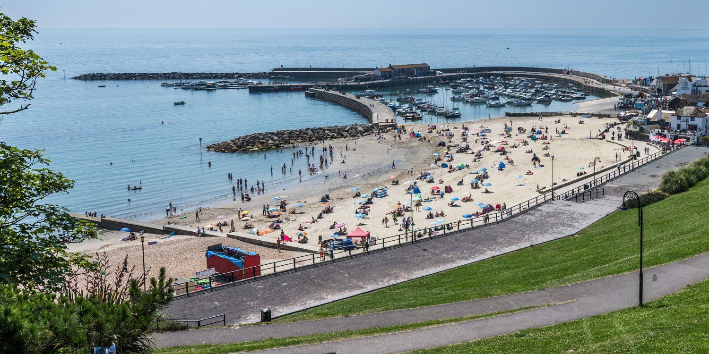 lyme regis garden beach harbour and cobb