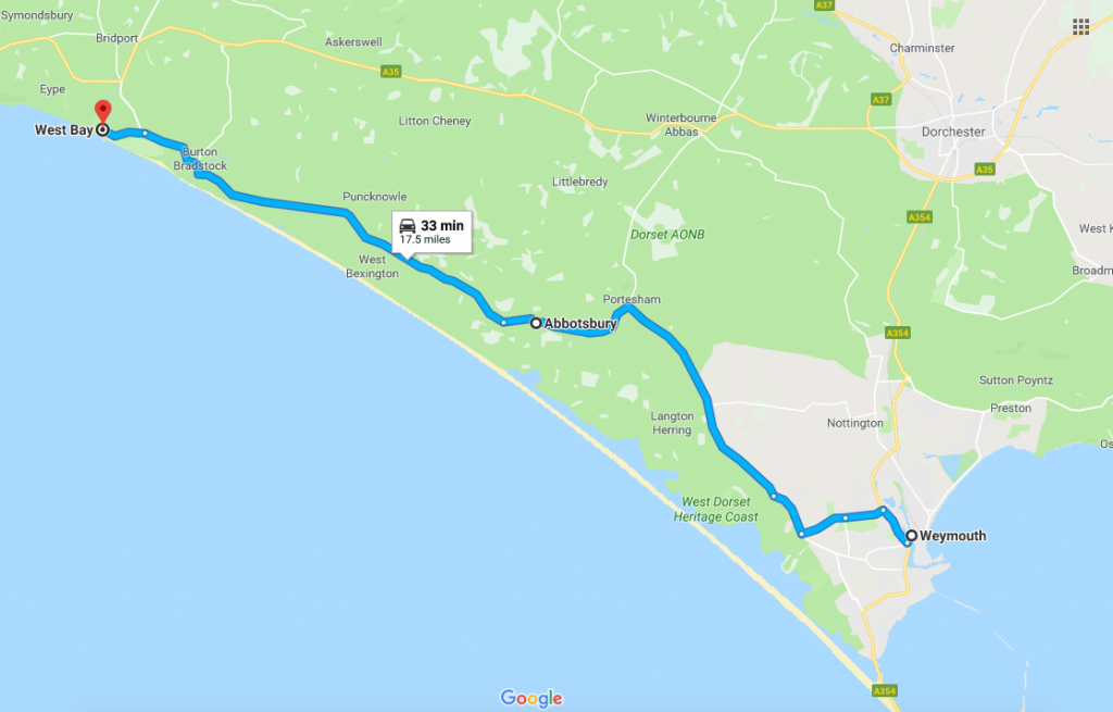 Jurassic Coast road drive route