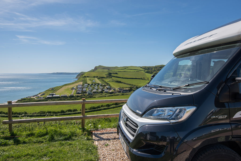 Sea view touring pitches at Highlands End Holiday Park.