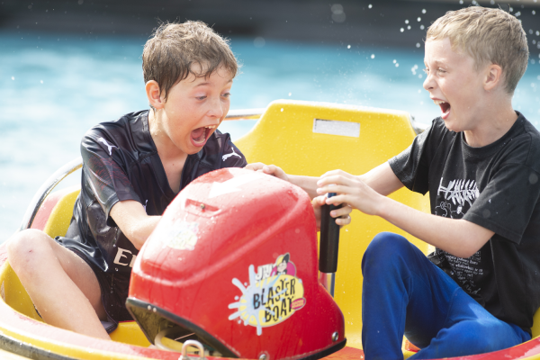 Boys on Aqua Blasters at Crealy Theme Park