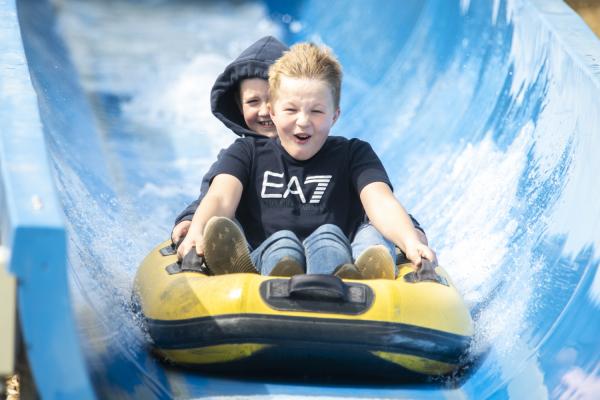 Boys on Vortex ride at Crealy Theme Park