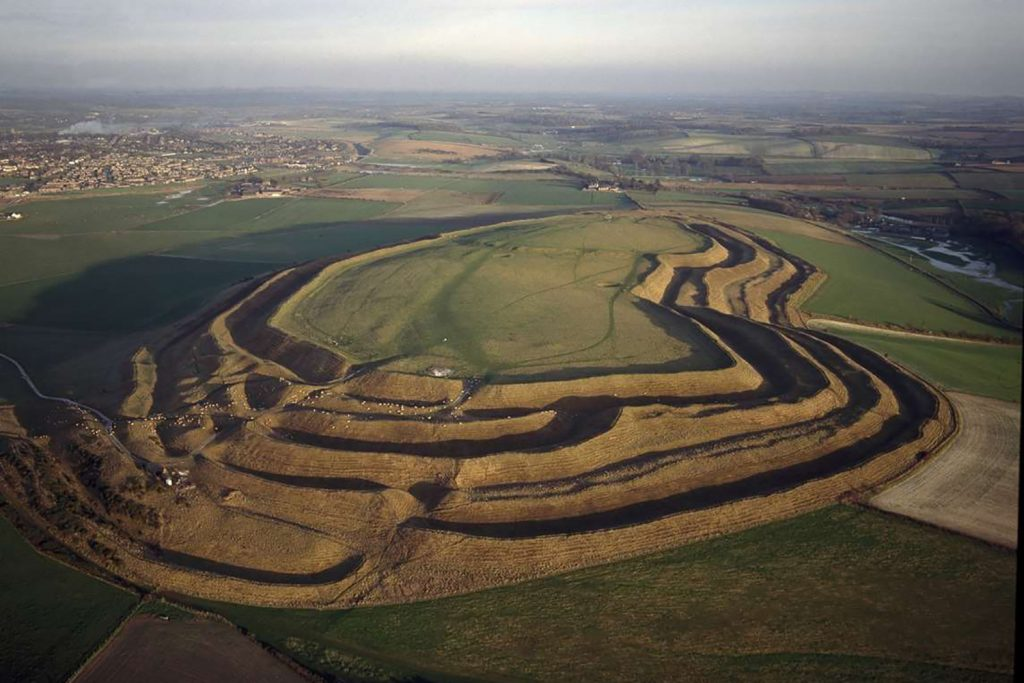 Aerial view of Maiden Castle, Dorchester