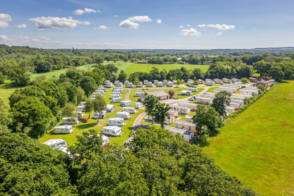 Aerial view of Sandyholme Holiday Park, perfect for a UK staycation