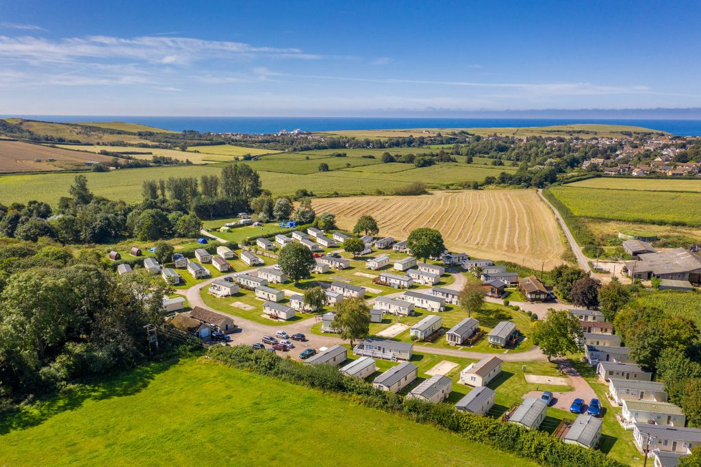 Aerial view of Graston Copse Holiday Park, perfect for a UK staycation