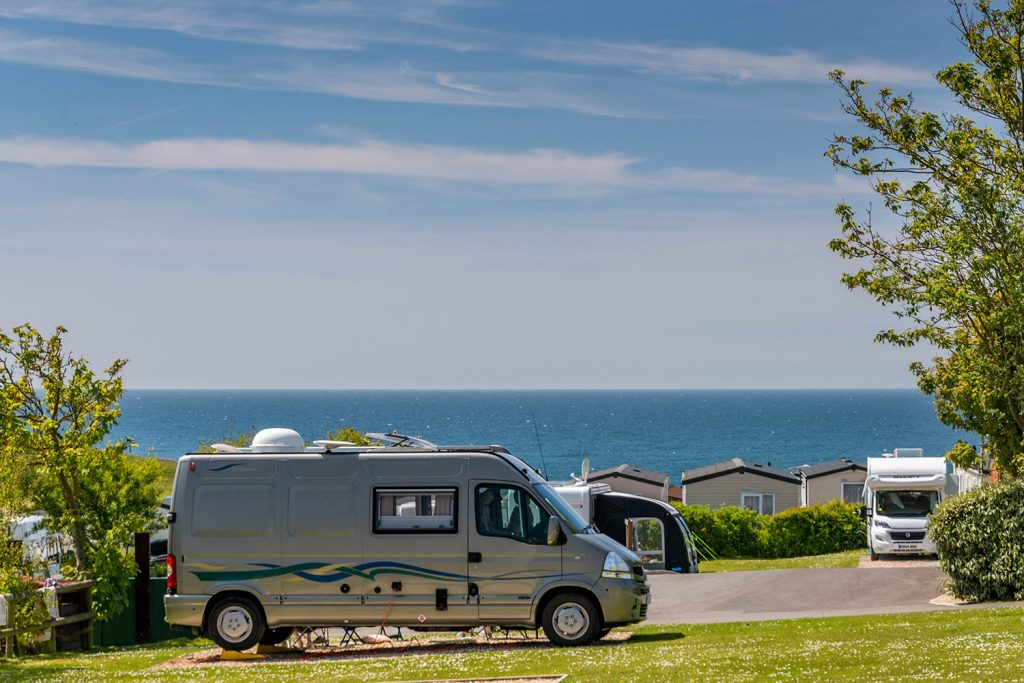 Campervan pitches. UK staycations at Golden Cap