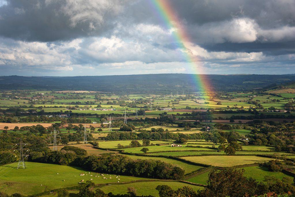 rainbow over marshwood vale in dorset