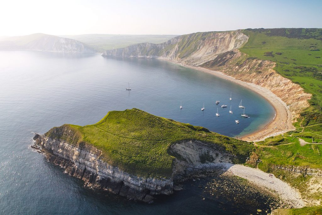 aerial view over worbarrow bay