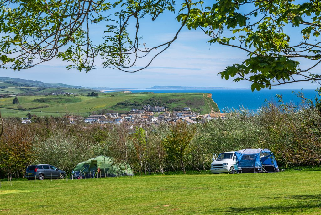 highlands end camping meadow in dorset